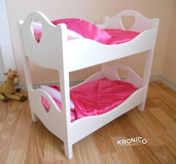 Двухъярусная кроватка для кукол своими руками из дерева 37